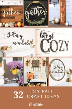 DIY Fall Craft Ideas for the Home | To get you inspired for Fall, here's 27 DIY Fall craft ideas. | CraftCuts.com Painting Wooden Letters, Diy Letters, Vine Monogram, Monogram Wreath, Fall Crafts, Home Crafts, State Crafts, Craft Ideas, Decor Ideas