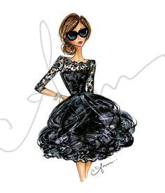 Fashion Illustration Print Oscar de la Renta 8x10