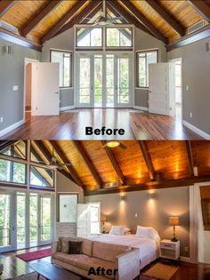 Staging before and after pictures of the master bedroom at 3025 Blaine Street in Coconut Grove.  Read more about Coconut Grove homes at http://therealestatecoconut.com.  #coconutgrove