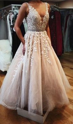 Elegant Appliques Beads Tulle Prom Dress Formal Prom Dresses With Applique from HotProm - ❤❤ 2019 Beautiful dresses for homecoming dresses ❤❤ Elegant Dresses, Pretty Dresses, Beautiful Dresses, Sexy Dresses, Long Dresses, Backless Dresses, Casual Dresses, Inexpensive Prom Dresses, Classic Dresses