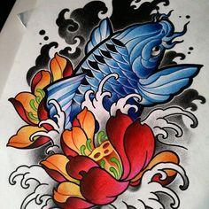 Pure flow and energy! So great to get lost, expanding the… Koi Fish Tattoo Forearm, Pez Koi Tattoo, Koi Tattoo Sleeve, Koi Dragon Tattoo, Japanese Sleeve Tattoos, Carp Tattoo, Tatto Koi, Japan Tattoo Design, Koi Tattoo Design