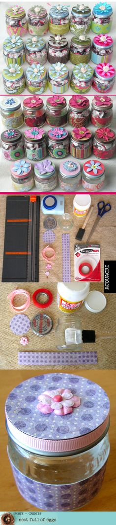 Un modo semplice, e di grande effetto, per rivestire i barattoli di vetro. #tutorial #diy #rivestimento #comefarea #howtomake #modpodge