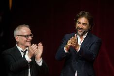 Thierry Frémaux, Javier Bardem during the opening ceremony of edition of Lumiere Festival, in Lyon, France, on October (Photo by Nicolas Liponne/NurPhoto via Getty Images) Javier Bardem, Lyon France, Opening Ceremony, October, Actors, Actor