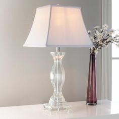 Square Hourglass Crystal Column Table Lamp