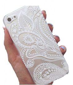 Darin Custodia Cover Case Ultra Slim Hard Plastica Custodia Protettiva Case Cover per Apple iPhone 5 5S - Henna White Floral Paisley Flower Mandala