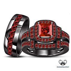 Black Gold Finish Princess Cut Engagement Ring Garnet Trio Wedding Bridal Set…