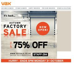 Huge savings on Vax products. Go to www.vaxsale.co.uk and use the code STAFF-294 for up to 75% off. #vax #sale #vacuum #hoover #technology #product #design #clean #cleaning #floorcare #consumer