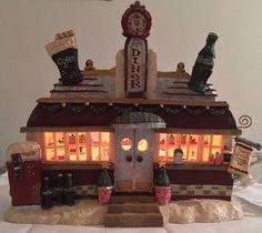 Vintage 1997 Coca Cola Christmas Village Diner Lighted House  #CocaCola