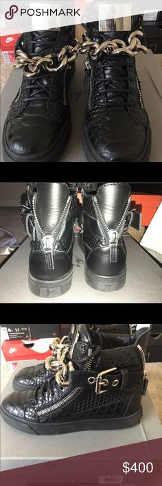 f314fa453d3b9 Giuseppe Zanotti Croc-Embossed HT Sneakers Size: 8 For sale is a pair of
