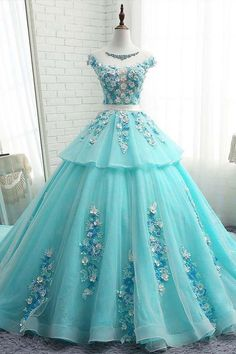 2018 Chic A-line Scoop Prom Dresses With Applique Blue Long Prom Dress Ball Gowns Evening Dresses from SexyPromDress Sweet 16 Dresses, A Line Prom Dresses, Ball Gown Dresses, Pretty Dresses, Dress Prom, Long Dresses, Dress Wedding, Dress Long, Prom Ballgown