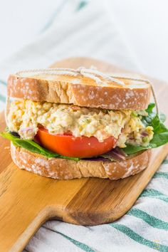 This Vegan Chickpea Tuna Salad Recipe is a close vegan replacement to actual tuna salad. It's tangy, thick and makes a mean chickpea tuna salad sandwich.