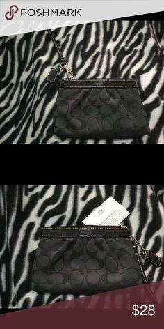 Black Coach Wristlet Black Coach wristlet, brand new never been used. Measures 7 inches width, 5 inches in length outside, inside measures 5 inches. Silver hardware, one pocket on the inside. Cute to hold lipstick, I.D, credit cards for a night out. Coach Bags Clutches & Wristlets