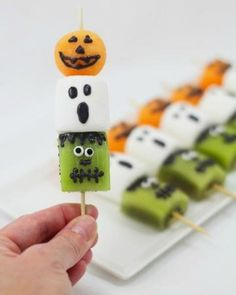 Frightful fruit kebabs: Fun faces on fruity treats like cantaloupe, marshmallows, and kiwi