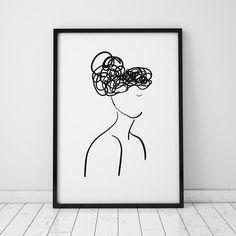 Female Silhouette Illustration INSTANT by AzzariJarrettDesigns Minimalist Painting, Minimalist Art, Arte Online, Small Canvas Art, Illustration Art Drawing, Black And White Posters, Feminist Art, Woman Silhouette, Poster Prints