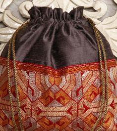 Grey Silk Potli Bag With Kantha Embroidery