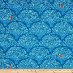 Michael Miller Wee Wander Tree Lights Twilight from @fabricdotcom  Designed by Sarah Jane for Michael Miller, this cotton print is perfect for quilting, apparel and home decor accents.  Colors include white, yellow and shades of blue.