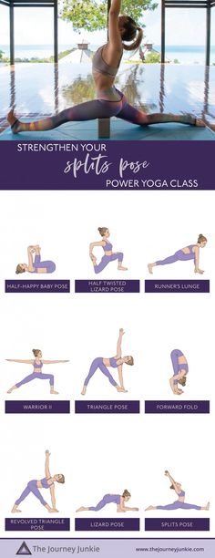 wondering how to stretch yourself into split pose come join me for a strengthening yoga class that will help you ease i everyones going crazy over Yoga Flow Sequence, Yoga Sequences, Ashtanga Yoga, Vinyasa Yoga, Strengthening Yoga, Yoga For Balance, Advanced Yoga, Beginner Yoga, Yoga For Flexibility