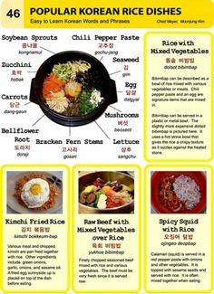 Easy to Learn Korean 46 - Food, Rice Dishes (Vocab) Korean Words Learning, Korean Language Learning, Easy Korean Words, Korean Rice, Korean Dishes, How To Speak Korean, Learn Korean, Dolsot Bibimbap, Korean Phrases