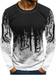 8fe39a695f2 Ink Painting Print Long Sleeve Casual T-shirt