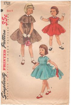 Simplicity 1701 Vintage 1950s Sewing Pattern Girl by HappyIFoundIt