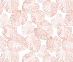 watercolor monstera leaf - dusty pink fabric by littlearrowdesign on Spoonflower - custom fabric