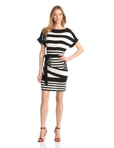 Tiana B Women's Combo Stripe Belted Dress, Black/White, Large Tiana B,http://www.amazon.com/dp/B00A76P3G8/ref=cm_sw_r_pi_dp_knIZsb1M29Q9R8FK