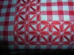 Pretty border in chicken scratch embroidery Vintage Embroidery, Cross Stitch Embroidery, Hand Embroidery, Cross Stitch Patterns, Embroidery Designs, Chicken Scratch Patterns, Chicken Scratch Embroidery, Bordado Tipo Chicken Scratch, Gingham Fabric