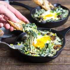 This could be you tomorrow morning. Garlic Butter Toasts with Baked Eggs and Greens. Thanks for the brunch inspo, @nerdswithknives! Recipe link in our bio. #mywilliamssonoma #weekendready