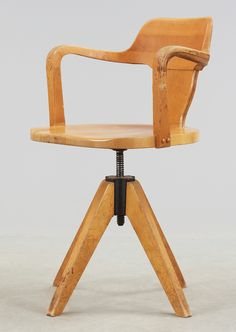 Old Swedish wooden swivel chair
