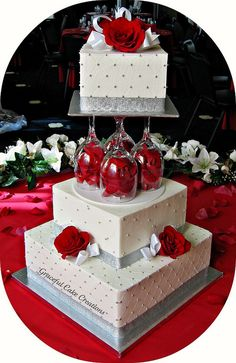 Elegant White and Silver Wedding Cake   Flickr - Photo Sharing!                                                                                                                                                                                 More