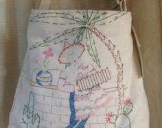 Shabby Romantic  Mexican Senor Sombrero Vintage Linen Embroidered Tote