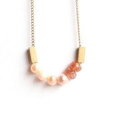 Pearls And Sunstone necklace, $33, now featured on Fab.