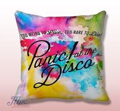 Panic at The Disco Paint Throw Pillow Cover. Fine quality USA handmade decorative throw pillow cover. Front and back of pillow cover are same. Hidden zipper closure. This pillow cover comes in indoor or outdoor fabric in the size of your choice. Indoor Throw Pillow Covers are made from 100% spun polyester poplin fabric, while the Outdoor Throw Pillow Covers are made from made from weather- and fade-resistant 100% spun polyester poplin fabric.