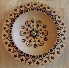 Moroccan Design Burnt Wood Clock by ATreasureInTime on Etsy, $28.00