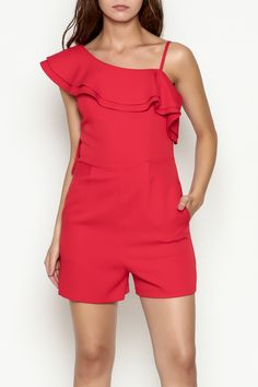 928459280b0f Ruffled one-shoulder romper with side zip Red Ruffle Romper by C. Luce.