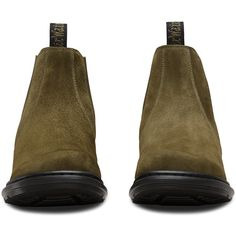 Dr. Martens Leather Pamela Boots (€83) ❤ liked on Polyvore featuring shoes, boots, green, chelsea ankle boots, slip resistant shoes, genuine leather boots, pull on boots and slip resistant boots