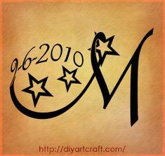 Maiuscola M con stelle e data di nascita