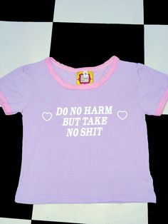 DO NO HARM BUT TAKE NO SHIT BABY!  Cotton spandex blend Cropped ringer tee Lightweight All over stretch