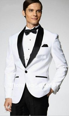 2014-Top-selling-One-Button-White-Jacket-With-Black-Satin-Lapel-Groom-Tuxedos-Man-Business-Suits