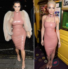 Awkward! Kim Kardashian and her brother Rob Kardashian's ex-girlfriend Rita Ora were caught at the same party in London wearing almost the exact same dress. The reality star and singer both donned versions of the same form-fitting pink latex dress on Thursday, Feb. 26, at the Mert & Marcus House of Love party in celebration of Madonna.