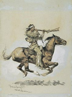 """[Métis] Buffalo Hunter Spitting a Bullet into a Gun. by Frederic Remington n.d. Courtesy Frederic Remington Art Museum. Métis hunters often """"ran"""" buffalo with a sawed-off musket, a mouthful of balls, a powder horn, reloaded on the run, directed their horses only with their knees and dropped the muzzle to shoot before the ball rolled out the barrel. They sometimes over-loaded on a run, maiming hands and fingers. Repeating rifles later added to the efficiency of the Métis buffalo hunters. JE"""