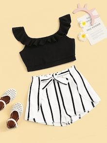 To find out about the Girls Ruffle Strap Top and Tie Waist Shorts Set at SHEIN, part of our latest Girls Two-piece Outfits ready to shop online today! Cute Teen Outfits, Cute Summer Outfits, Outfits For Teens, Pretty Outfits, Stylish Outfits, Cool Outfits, Girls Fashion Clothes, Teen Fashion Outfits, Girl Fashion