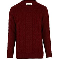 Dark red cable knit jumper £35.00