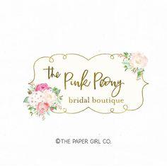 peony logo flower logo florist logo bridal logo boutique logo