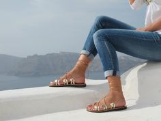 Gold Lace up Greek Sandals, Available in 6 colors, handmade of genuine leather, Unique design, DANAE 06