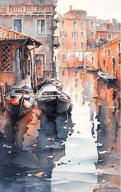 Christian Graniou-Watercolor - Pin This Watercolor Water, Watercolor Sketch, Watercolor Artists, Watercolor Landscape, Landscape Art, Landscape Paintings, Watercolor Paintings, Watercolors, Watercolor City
