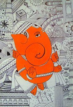 New Dancing Silhouette Tattoo Art Illustrations 26 Ideas Lord Ganesha Paintings, Ganesha Art, Krishna Art, Shri Ganesh, Madhubani Art, Madhubani Painting, Diwali Painting, Hamsa, Indian Folk Art