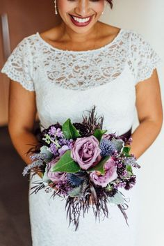 d813d3017f8b48 Ruben and Eva s Rooftop Seattle Courthouse Wedding Bridesmaid Bouquet