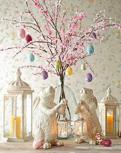 "Easter egg tree with bunny rabbits ~ Easter decorating ideas. Can't get enough of these Easter egg ""trees""made with flowering branches!!"