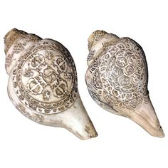 Carved Sea Shells from Tibet also known as Dung-Dkar | From a unique collection of antique and modern more folk art at http://www.1stdibs.com/furniture/folk-art/more-folk-art/